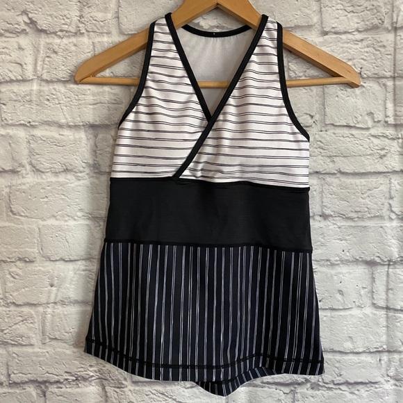 Lululemon Black White Striped Deep V Tank Top